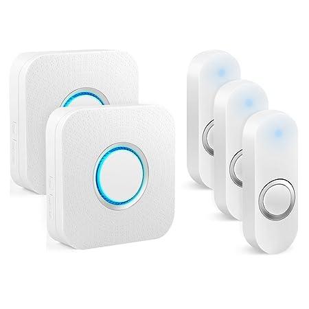 BITIWEND Wireless Doorbell, Waterproof Chime Kit 1000-feet Range, 52 Chimes Optional, 4 Level Volume, LED Indicator,Waterproof Doorbells 2 Receivers 3 Push Buttons