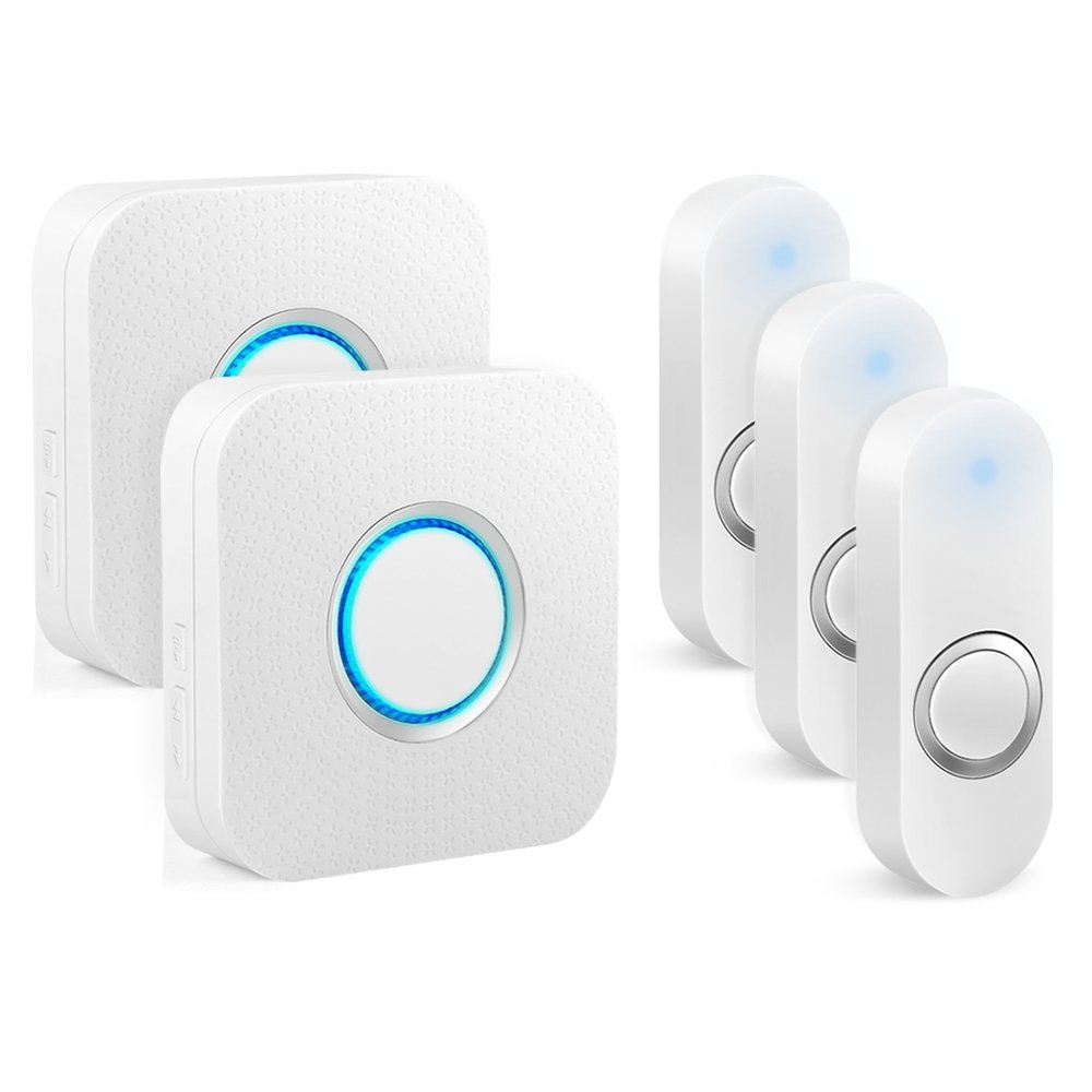 Bitiwend Wireless Doorbell, Waterproof Chime Kit 1000-feet Range, 52 Chimes Optional, 4 Level Volume, LED Indicator,Waterproof Doorbells (2 Receivers & 3 Push Buttons)