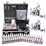 Tattoo Kit 2 Guns LCD Power Supply 54 Color Inks w/ Case by Newleaf