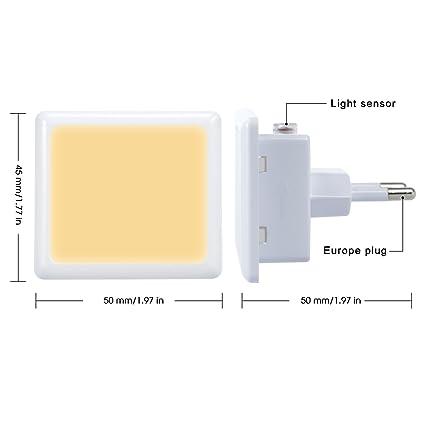 2x LED Nachtlicht Steckdosen Lampe Treppen Leuchte MIT Dämmerungssensor 3000K