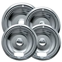 Range Kleen 10124XZ Chrome Style A Drip Pans. 4 Pack Containing 3 Units of 6 inch 101Am, 1 Unit of 8 inch 102Am. Will fit most electric ranges with plug in elements by Range Kleen