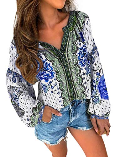 FARYSAYS Women's Fashion 2019 Long Sleeve V Neck Tee Shirts Bohemian Floral Loose Tops Blouse Blue XX-Large