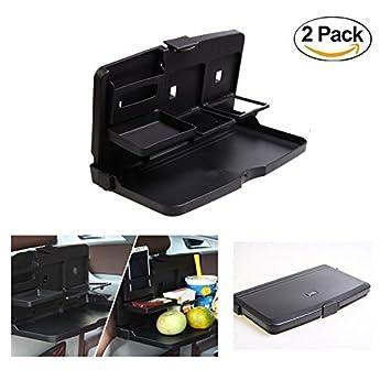 HCMAX 2 Pack Coche Asiento Trasero Plegable Mesa Bandeja de Comida Portavasos Estar Escritorio Viajar Bandeja de Comedor Organizador Negro: Amazon.es: Coche ...