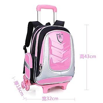 MinegRong 2018 nuevos niños carro extraíble Mochila escolar 2/6 ruedas Mochila escolar Mochila impermeable bolso de viaje mochilas escolares,rosa seis ...