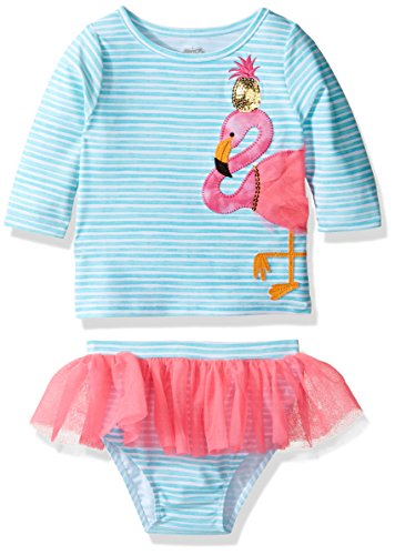 Mud Pie Baby Girl's Flamingo Rashguard Bikini Set (Toddler) Blue 4T