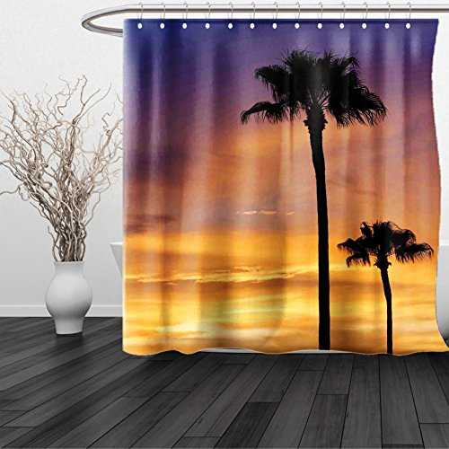 Marlin Vintage Tie (HAIXIA Shower Curtain Palm Tree PalmTrees Twilight in Tropical Environment Natural Beauty at Sunset Scene Yellow Black)