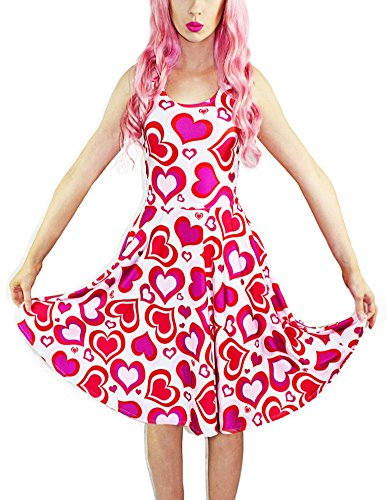 Sister Amy Women's Pattern Printed Elastic Sleeveless Shaping Camisole Skater Pink Heart -