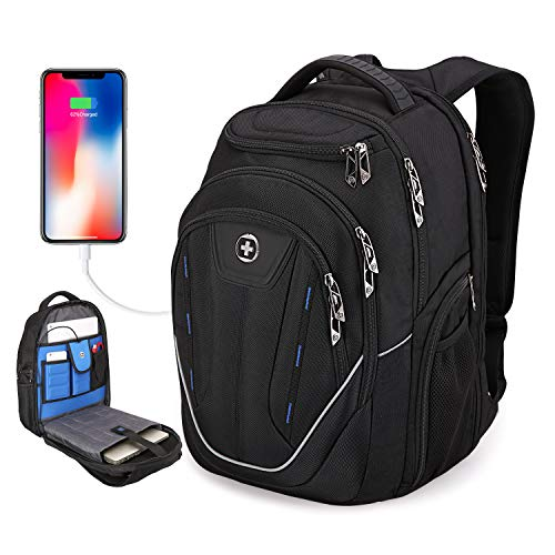 Swissdigital TSA Friendly, Water-Resistant Large Backpack, Business Laptop Backpack for Men with USB Charging Port/RFID Protection Big School Bookbag Fits 15.6 in Travel Laptop Backpack [Black] (A)