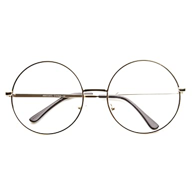 Amazon.com: zeroUV - Large Oversized Metal Frame Clear Lens Round ...