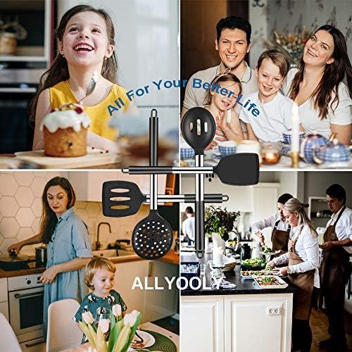 Allyooly Kitchen Utensils Set – 14 pcs Silicone Cooking Utensils Set Premium Quality Non-stick Heat Resistant Kitchen Utensils,Cookware with Stainless Steel Handle,Black(BPA Free) 51ncaSpL5sL