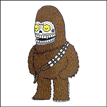 Star wars chewy chewbacca calavera die cut clear vinyl sticker sugar skull day of