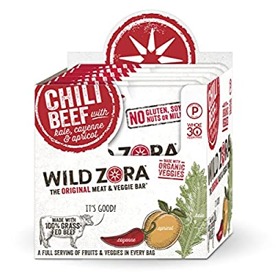 Wild Zora - Chili 100% Grass Fed Beef & Organic Veggie Bars - Gluten-Free - No Antibiotics or Added Hormones (10-Pack)