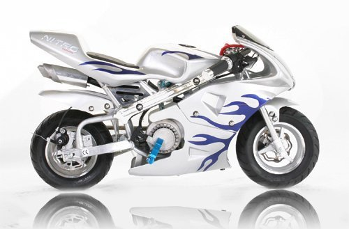 Pocket Bike PS77 49cc, Kinderbike, Rennbike, Dirtbike, Mnibike, Silber-Blau Flamme