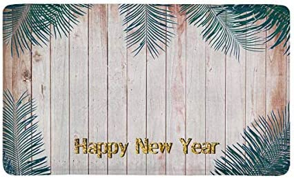 INTERESTPRINT Happy New Year Vintage Leaves on a Wooden Background Doormat Anti-Slip Entrance Mat Floor Rug Indoor Outdoor Door Mats Home Decor, Rubber Backing Large 30 L x 18 W