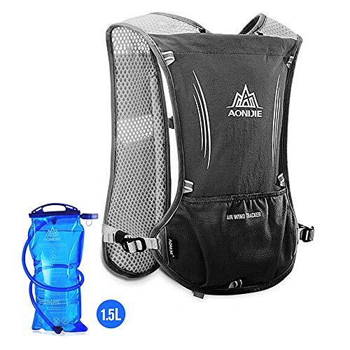 AONIJIE Hydration Pack Backpack 5L Marathoner Running Race Hydration Vest Running Hiking Backpack with Hydration Pack (Black, with Bladder)