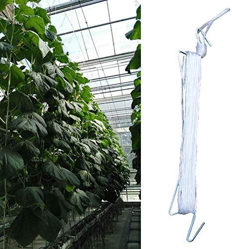 Groust 10 PCS Tomatenhaken Tomatenstützhaken Pflanzenwachstum Traktionsseilhaken 10m Tomatengemüse Vine Support String Rope Gemüsepflanzzubehör Für Weinreben