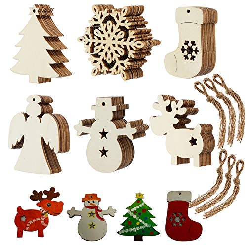 Christmas Wood Ornaments Wooden Cutout Hanging Wood Crafts