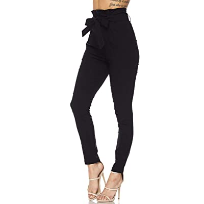Love Moda Women's Casual High Rise Bow-Tie Paper Bag Waist Pants with Spandex at Women's Clothing store