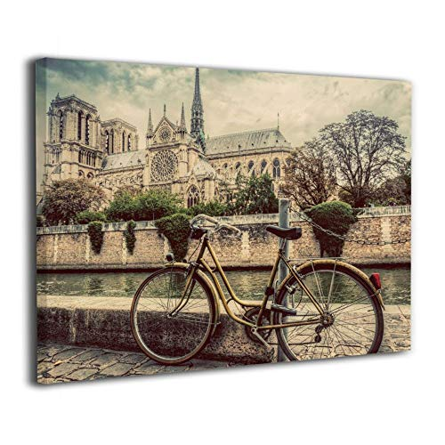 Notre Dame Cathedral Pictures - Okoart Canvas Wall Art Prints Retro Bike Notre Dame Cathedral Paris Picture Paintings Modern Decorative Artwork for Living Room Wall Decor and Home Decor Framed Ready to Hang 16x20inch