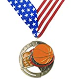 Gold Basketball M3XL Premium Die Cast Color Medal - 2.75 Inches Wide - Includes Decade Awards Exclusive Red, White & Blue Stars and Stripes V-neck Ribbon - Neckband
