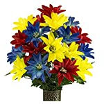 Blue-Red-Yellow-Dahlia-Artificial-Bouquet-featuring-the-Stay-In-The-Vase-Designc-Flower-Holder-MD2077