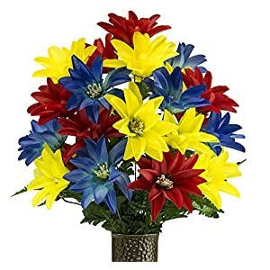 Blue Red Yellow Dahlia, Artificial Bouquet, featuring the Stay-In-The-Vase Design(c) Flower Holder (MD2077) 5