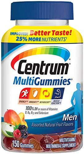 Centrum Men MultiGummies Multivitamin / Multimineral Supplement Gummies (Natural Cherry, Berry and Apple Flavor, 150 Count) (Package May Vary)