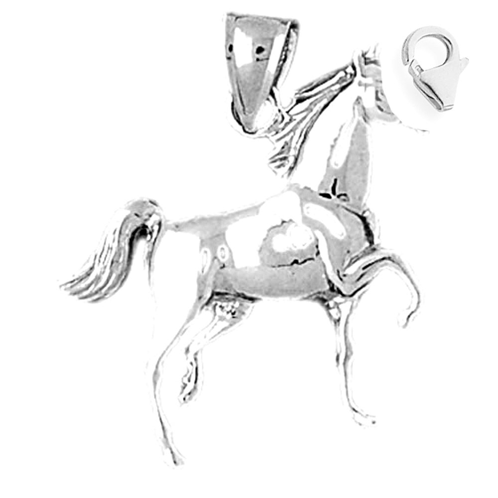 JewelsObsession Sterling Silver 29mm Horse Charm w//Lobster Clasp