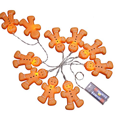 Christmas Lights,lotus.flower Flameless Lights,Gingerbread Men String LED Battery Operated Lights,LED Light For Party Decorations,Christmas (1.2M-10 LED) (Man Gingerbread Lights)