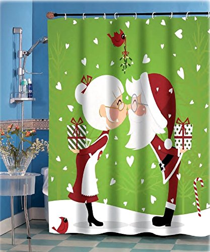 Mommy Kissing Santa Claus Christmas Shower Curtain