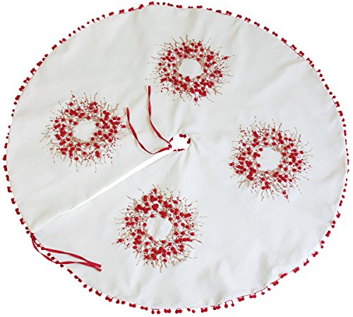 Xia Home Fashions Holiday Berry Wreath Ribbon and Pom Pom Embroidered Christmas Tree Skirt, 60-Inch by Xia Home Fashions
