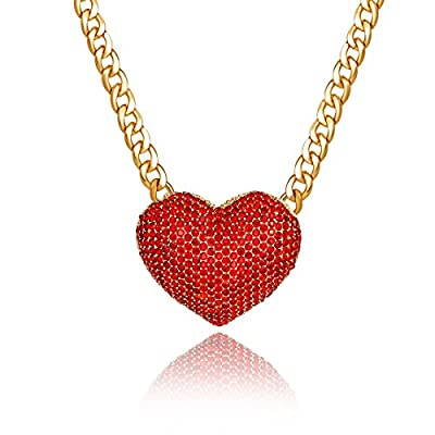 Qiji Women's Statement Sparkly Heart Necklace Blingbling Rhinestone Chunky Chain Necklace Punk Rock Style Costume Jewelry