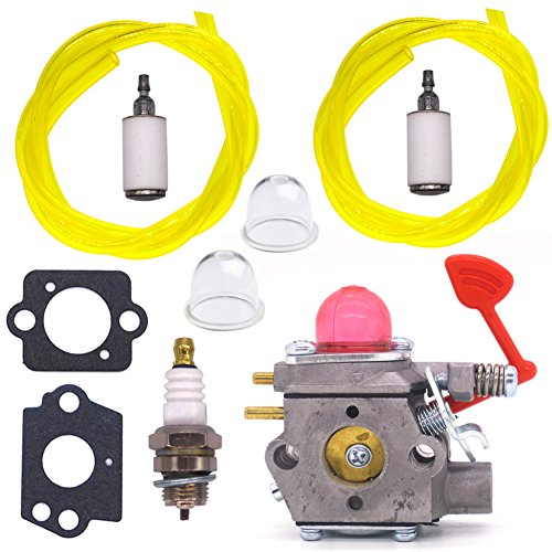 NIMTEK Carburetor W/ Gasket Primer Bulb Spark Plug Fuel Line Filter for McCulloch Blower MC200VS GB320 M320 M325 MAC GBV325 Carb