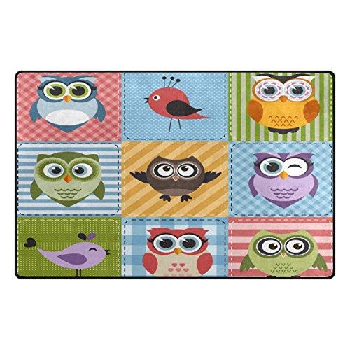 Plaid Owl - Vantaso Nursery Area Rugs Soft Foam Cute Owls Birds Plaid Striped Play Mats for Kids Playing Room Living Room Door Mat 60x39 inch