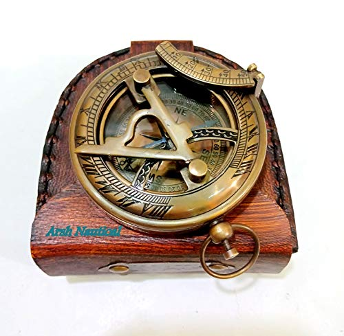 Aysha Nautical Gifts for Husband/Nautical Collectibles Brass Sundial Compass with Handmade Leather Case