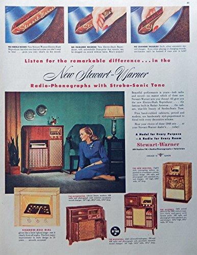Stewart Warner Radios, 40's Print Ad. Full Page Color Illustration (strobo sonic tone) Rare, Original Vintage 1947 Collier's Magazine Art (Warner Radio Stewart)