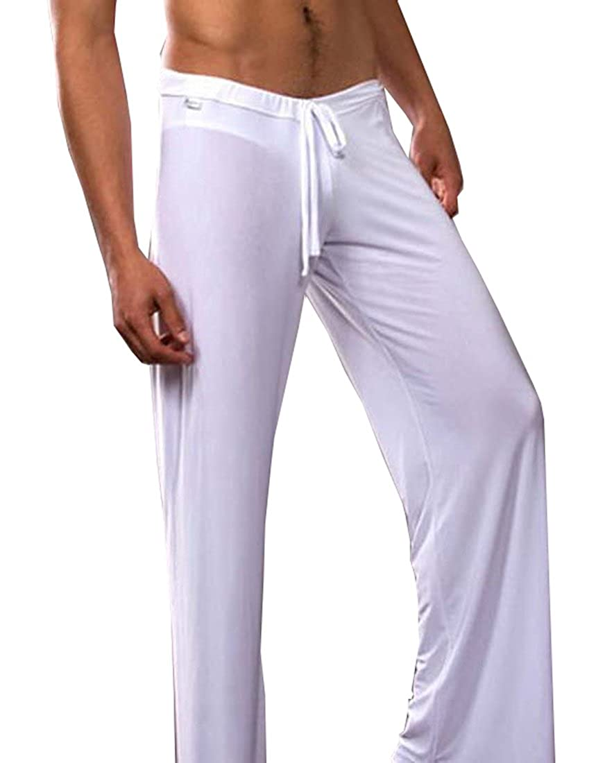 TESOON Men's Super Soft Ice Silk Yoga Long Pants Casual Sleep Pants