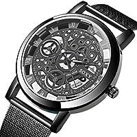 Pinsparkle Fashion Business Hollow Dial Watch Men Quartz Wristwatch Wrist Watches