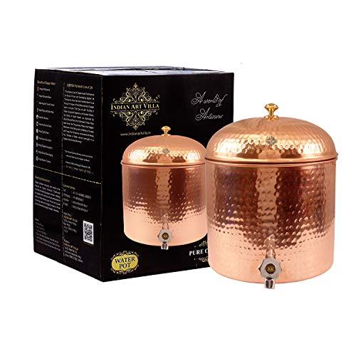 Indian Art Villa IAV C 2 355 Copper Water Dispenser Container Pot Tank   237 fl oz, Brown