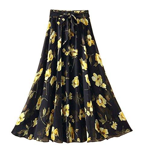 lastique Jupe 11 jupe taille en Temptation mousseline Noir Femmes irrgulire Multicolore Black sirne B1xTZy