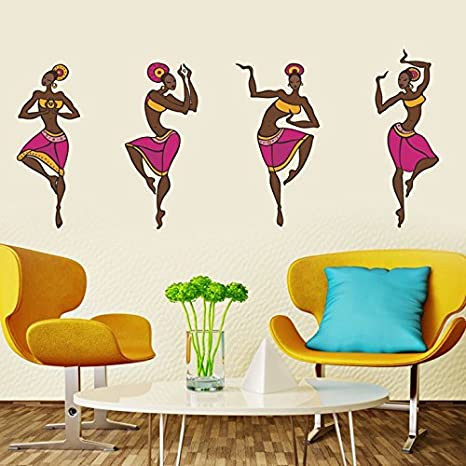 Decals Design '4 Dancing Tribal Ladies' Wall Sticker (PVC