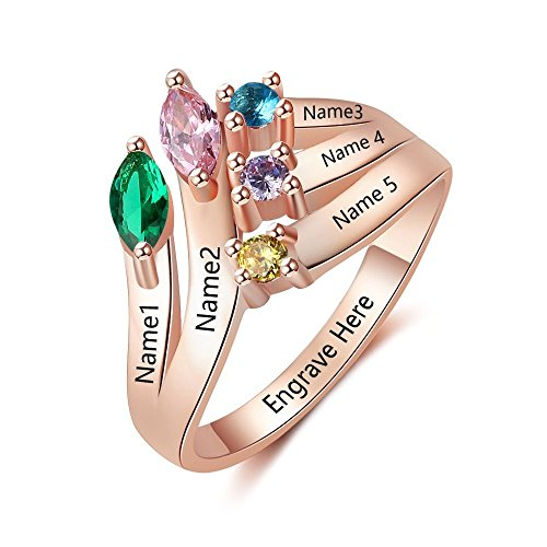 Lam Hub Fong Personalized Mothers Rings with 5 Simulated Birthstones Rings Family Name Rings for Mothers Rings for 5 (6)