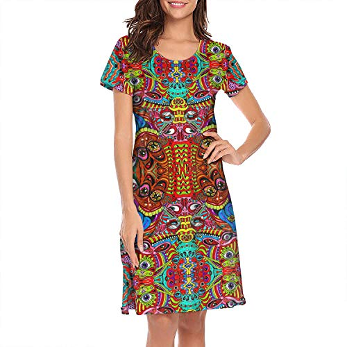 NC/Ball Women's Psychedelic Vision Trippy Evil Eyes White Sleep Dress Fashion