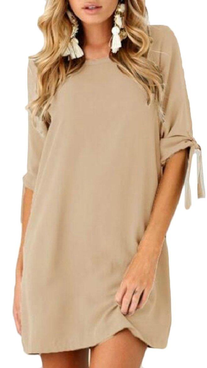 ONTBYB Women's Tie Sleeve Solid Crew Neck Casual Chiffon Tunic Shirt Mini Dress Khaki XXS