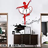 BABYQUEEN European Creative Silence Dance Music Wallclock Bedroom Living Room Simple Personality Art Decorative Clock Red Ballet Send?Piano?Wall Stickers