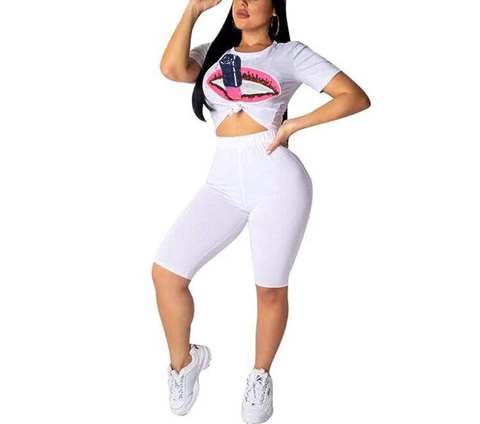 58db0eb27a JUNBOON Womens Sexy 2 Piece Sports Outfit Set Lip Print Crop Top Bodycon  High Waist Shorts
