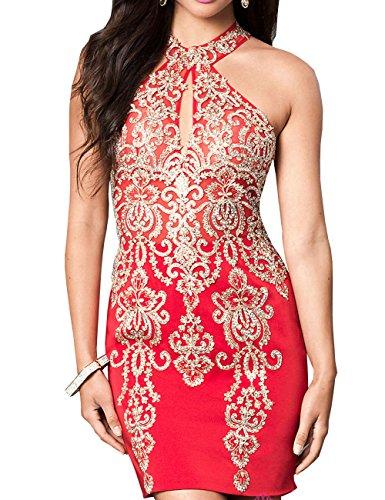 Rot Neck Kurzes Hohes Abendkleid Embellished Erosebridal Ac8qpwXRnx