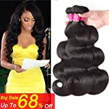 Bobofun Peruvian Body Wave Real Human Hair Extensions 3 Bundles Natural Color Wet and Wavy Loose Curly Hair (14 16 18)
