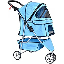 Pet Stroller Cat Dog Cage 3 Wheels Travel Folding Carrier Blue