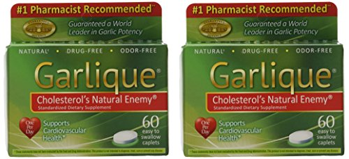 Garlique Dietary Supplement Caplets, 60-Count Packages (Pack of 2) ()
